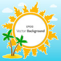 Sun and island vector round background for your own design Royalty Free Stock Images