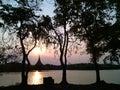 The sun lake thailand beautiful sunset Stock Image