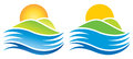 Sun logo a icon of the rising over hills and water gradient and solid version options Royalty Free Stock Photos