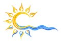 Sun Logo in the sea. Royalty Free Stock Photo