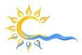 Sun Logo in the sea. Royalty Free Stock Photo