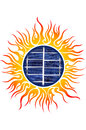 Sun logo with solar panels Stock Photography