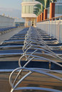Sun loungers on cruise ship Stock Photo