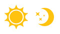 Sun And Moon Flat Icon. Vector...