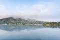 Sun moon lake landscape of famous in the morning with mist in taiwan asia Stock Images
