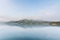 Sun moon lake landscape of famous in the morning with mist in taiwan asia Royalty Free Stock Photos