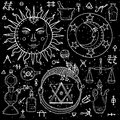 The Sun, Moon, Ouroboros and philosophical stone with other alchemy signs Royalty Free Stock Photo