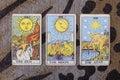 Sun, moon, star tarot cards. Royalty Free Stock Photo
