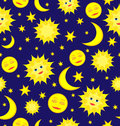 Sun moon and stars celestial seamless pattern vector backgroun background Royalty Free Stock Photos