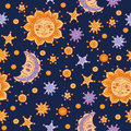Sun, moon, stars seamless pattern Royalty Free Stock Photo