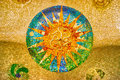 Sun mosaic at the Parc Guell, Barcelona Royalty Free Stock Photo