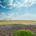 Sun over drought land Royalty Free Stock Photography