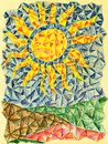 Sun over fields big yellow in blue skies green color crayons illustration Royalty Free Stock Photography