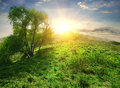Sun over hill Royalty Free Stock Photo