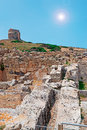 Sun over tharros bright ruins Royalty Free Stock Photo