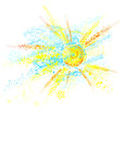 Sun painted with paint and sky watercolor crayons and pencils on white background Royalty Free Stock Images