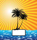 Sun, palm tree, sea Royalty Free Stock Photos