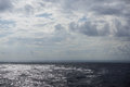 Sun patches of light on an ocean surface in cloudy day Stock Images