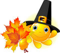 Sun with pilgrim hat holding autumn leaves Royalty Free Stock Photos