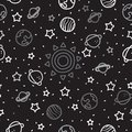 Sun, planet earth and stars from space on black pattern background. Cosmic planet seamless pattern. Royalty Free Stock Photo