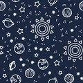 Sun, planet earth and stars from space on dark blue pattern background. Cosmic planet seamless pattern. Royalty Free Stock Photo