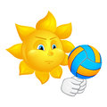 Sun is playing volleyball isolated on white background Royalty Free Stock Photography