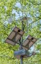 Sun Power solar energy saving panel street light on forest Royalty Free Stock Photo
