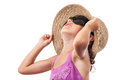 Sun protection girl sunglasses hat Royalty Free Stock Photo