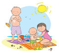 Sun protection hand drawn picture of family staying safe in the illustrated in a loose style vector eps available Stock Image