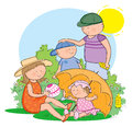 Sun protection hand drawn picture of family staying safe in the illustrated in a loose style vector eps available Royalty Free Stock Photos
