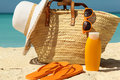 Sun protection items Royalty Free Stock Photo