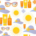Sun protection seamless pattern