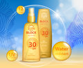 Sun protection, sunscreen and sunbath cosmetic products design face and body lotion with UV protection on palm beach