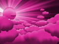 Sun and purple sky with beautiful clouds. EPS 8 Royalty Free Stock Photography
