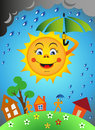 Sun and rain under an umbrella earth with people houses Royalty Free Stock Photography