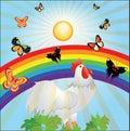 Sun, rainbow, butterflies and cock