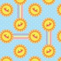 Sun and rainbow vector seamless pattern