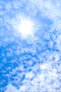 Sun ray in blue sky white cloud and Royalty Free Stock Photos