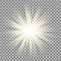 Sun rays on transparent background. Star flare effect. Royalty Free Stock Photo