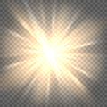 Sun rays on transparent background