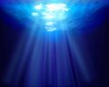 Sun rays underwater. Vector illustration. Royalty Free Stock Photo