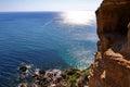Sun reflecting at Cape Kaliakra Royalty Free Stock Photo