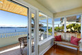 Sun room and walkout deck. American architecture. Real estate wi Royalty Free Stock Photo