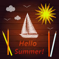 Sun sailing crayons yacht summer drawing with colored pencils vector Royalty Free Stock Image
