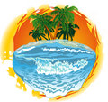 The sun and the sea icon illustration Royalty Free Stock Images