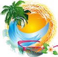 The sun and the sea icon illustration Stock Photo