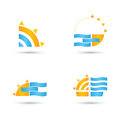 Sun and sea vector for beach holiday summer emblem Royalty Free Stock Photo