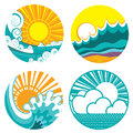 Sun and sea waves. Vector icons of  illustration o Royalty Free Stock Photo