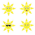 Sun set a of four cartoon suns with different facial expressions Royalty Free Stock Images