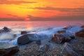 Sun set at rock sea beach Royalty Free Stock Photo